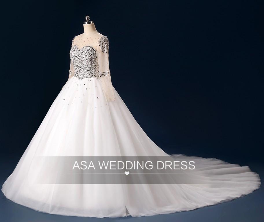 Zt02 Latest Long Sleeve Bridal Dress Brazilian Wedding Gown Ball ...
