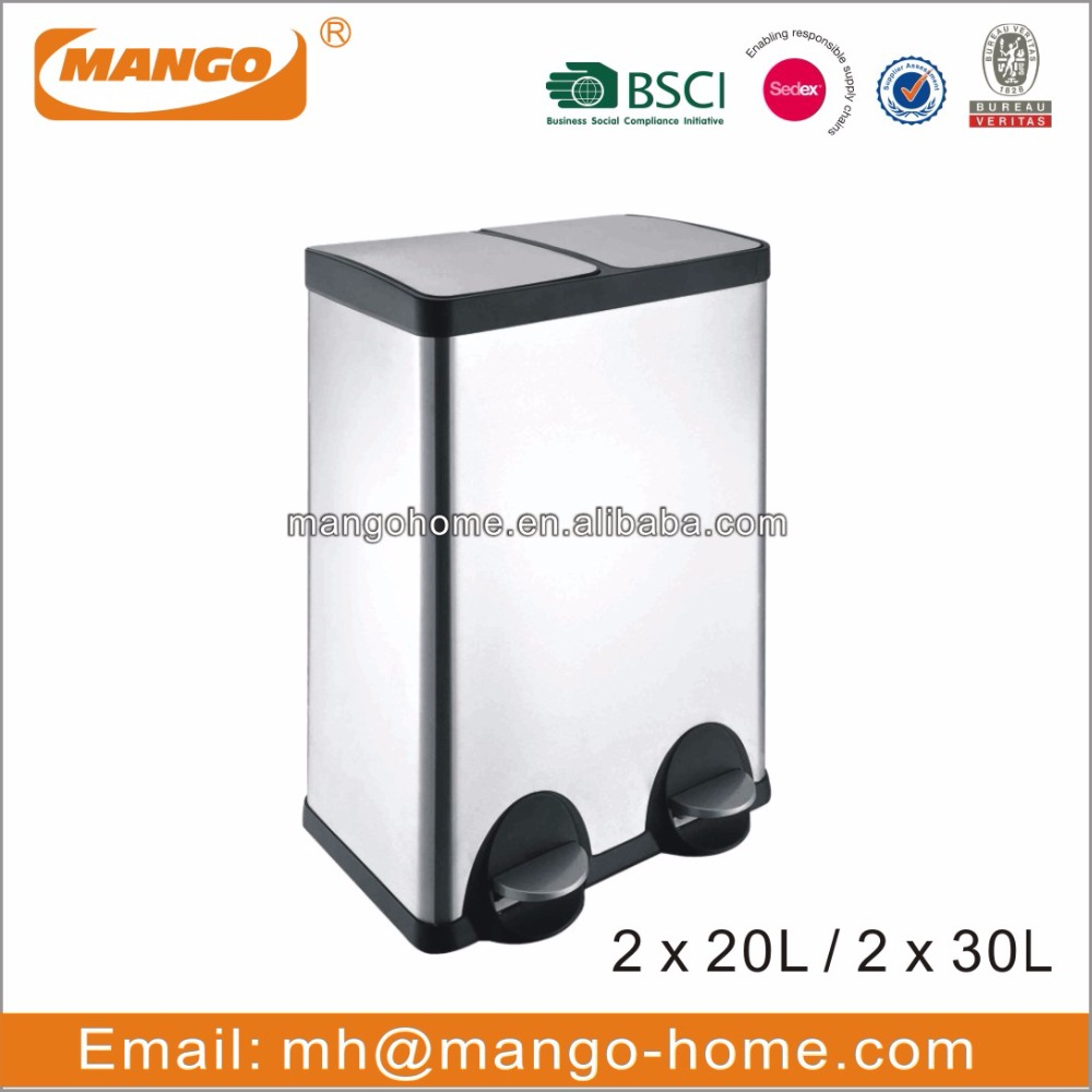 60L Two Compartments Stainless Steel Pedal Recycle Bins