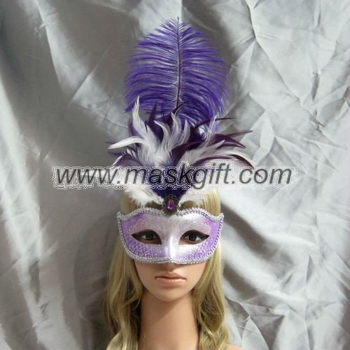 High class purple with silver glitter Venetian style feathered carnival silver theme masquerade masks