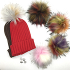 DIY Faux Fur Pom Poms Ball with Press Button Removable Fluffy Pompom for Knitting Hats Shoes Scarves Bag Accessories