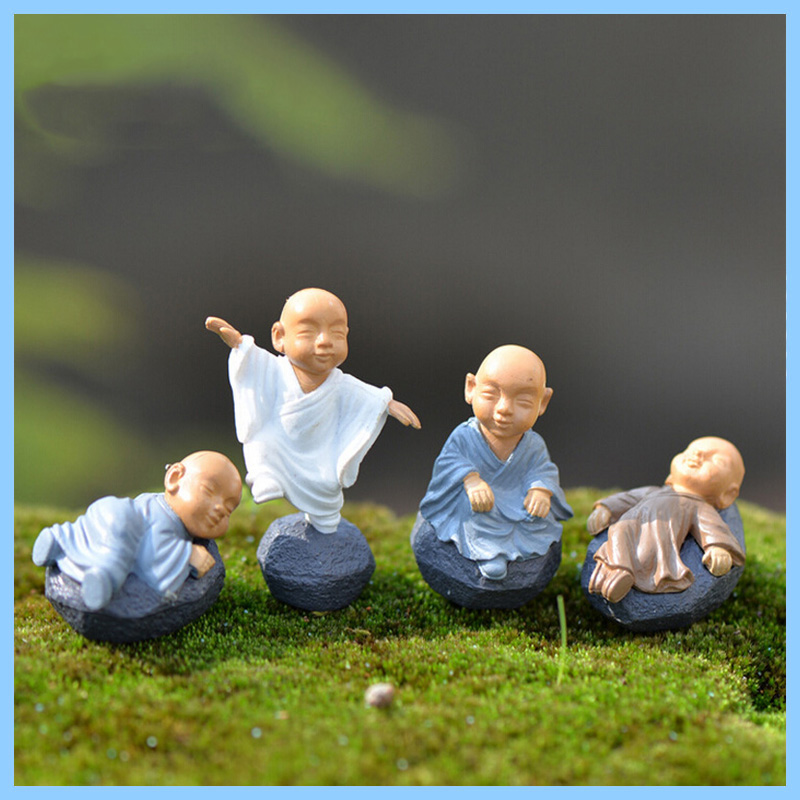 Resin Chinese Monks Figurine Miniature Decoration mini fairy buddha