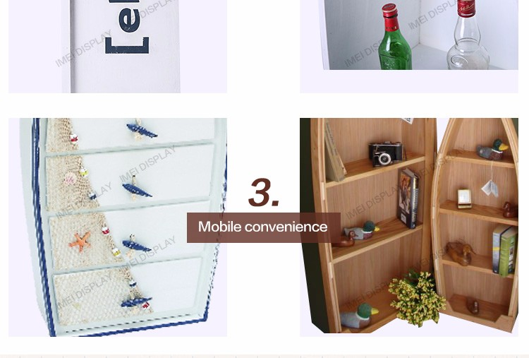 Best furniture design boat shape fishing display wooden shop rod rack