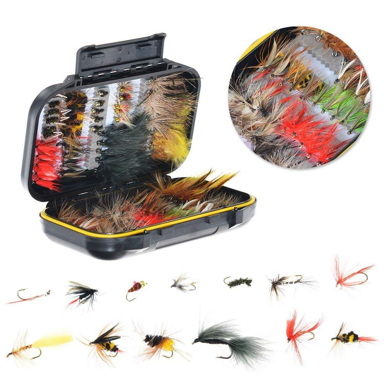 Dyna-Living Fly Fishing Flies Kit -120pcs Handmade Fly Fishing Lures - Dry/Wet Flies,Streamer, Nymph, Emerger with Waterproof Fly Box