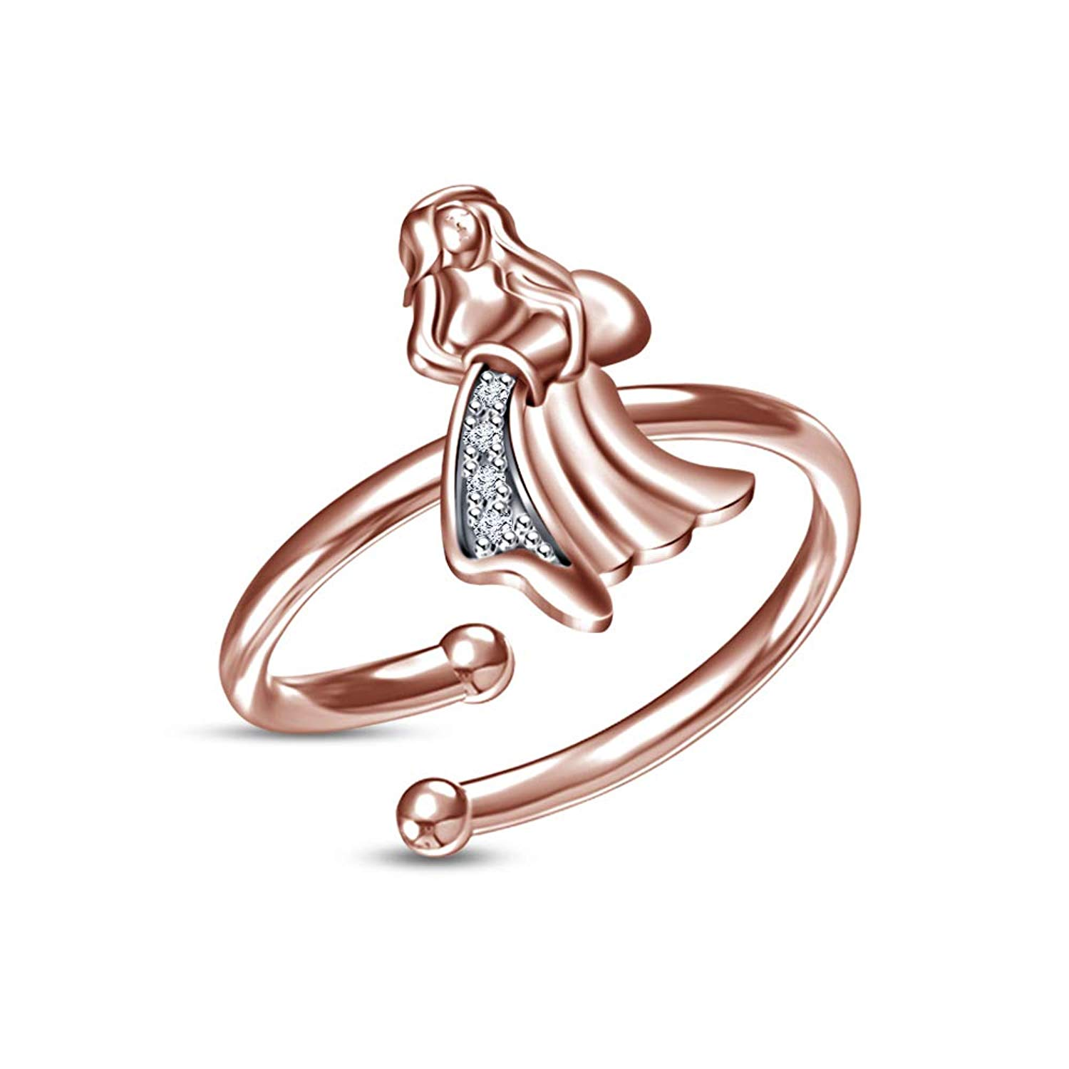 Toe Rings Heart Shape Adjustable Solid Metal Toe Ring 14 K Rose Gold Plated 925 Silver