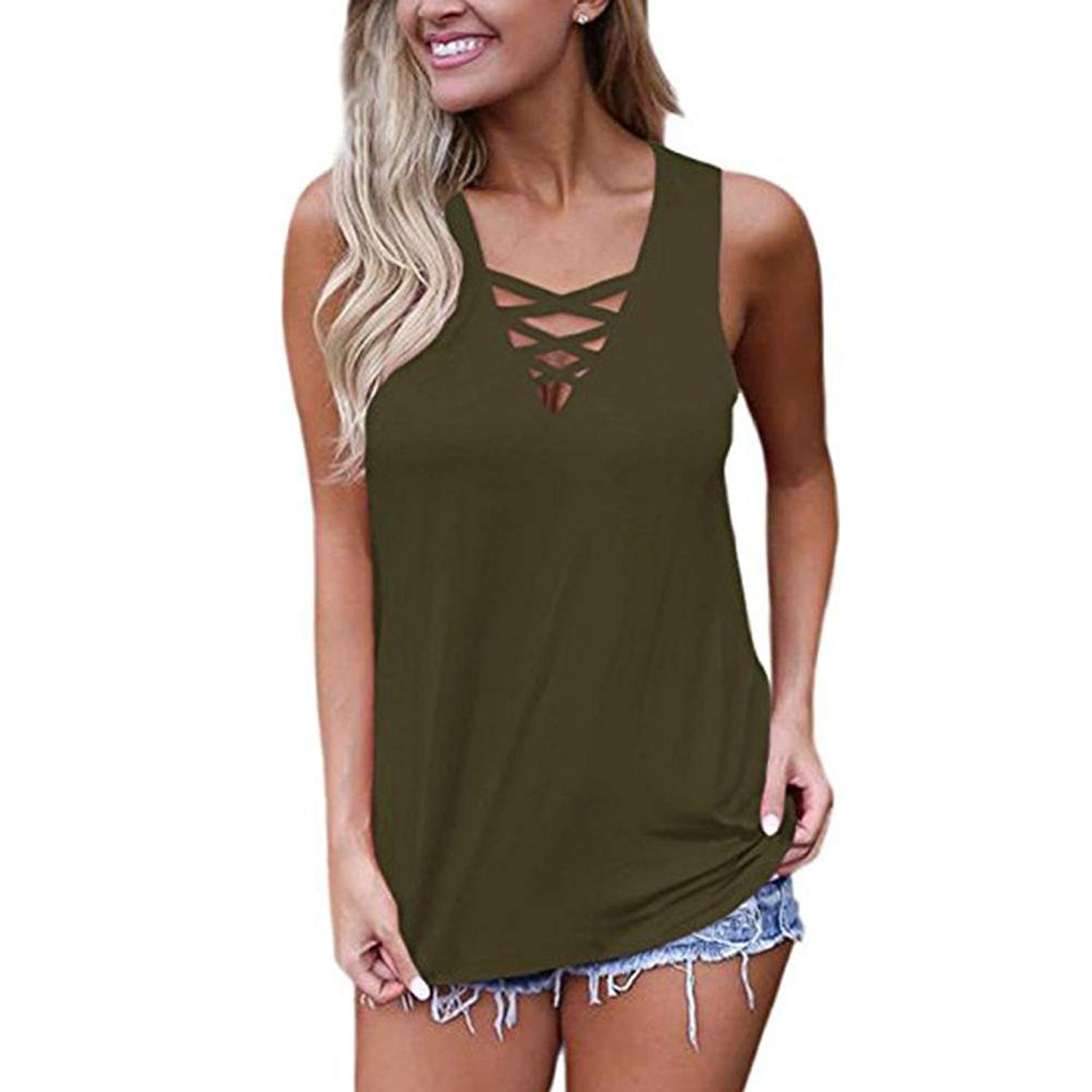 95792ea72ad24 Get Quotations · Hmlai Women s Summer Sleeveless V Neck Lace Up Criss Cross  Cami Tank Tops Cute T Shirts
