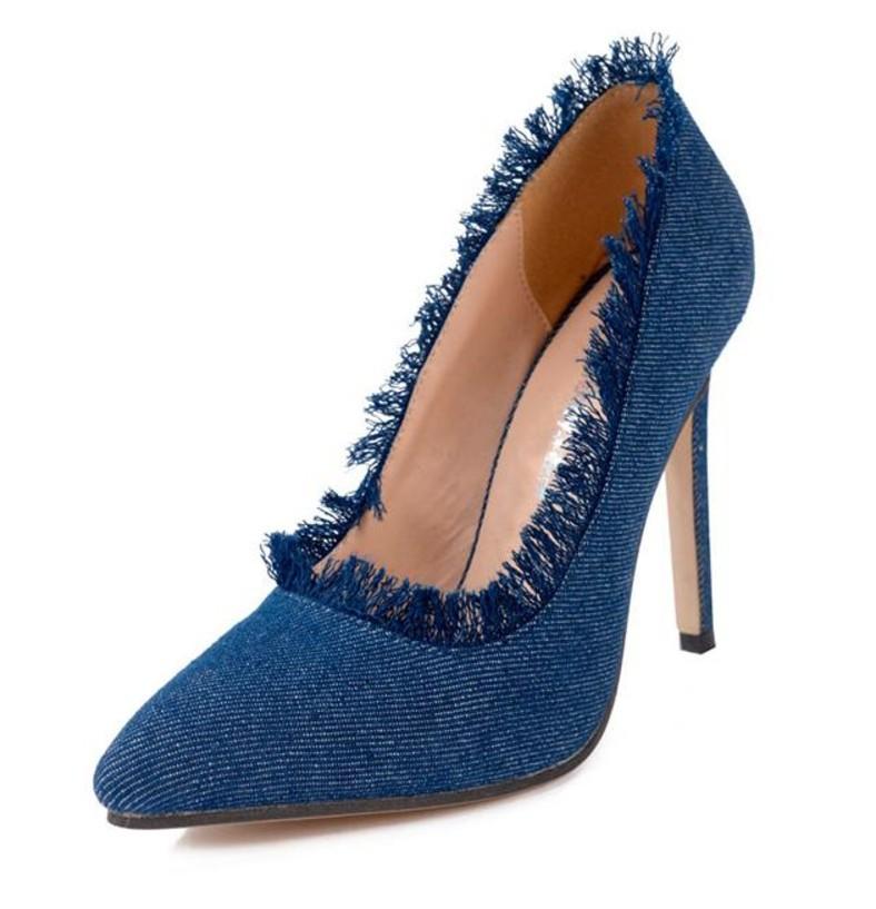 49d92155456fc8 Fashion Ladies Jean Stoff Sexy High Heels Sicherheitsstahlkappe Schuhe Mit  Niedriger - Buy Reizvolle Absatzschuhe