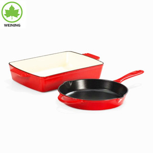 Red Enamel Cookware Set Cast Iron Oil Plant Frying Pan Roasting Set