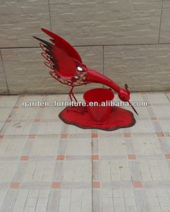 Cast iron animal statu bird figurine painted red metal decor handicraft wholesale