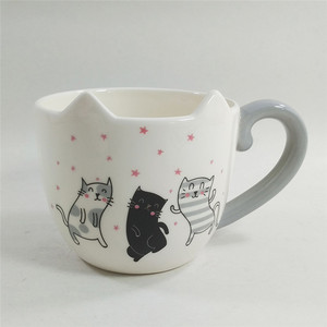 FDA 500ML custom printed cartoon ceramic cat coffee mug 3D for children