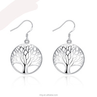 925 Sterling Silver Young Girl Hook Earring Jewelry Fashion Tree Of Life Jewelry