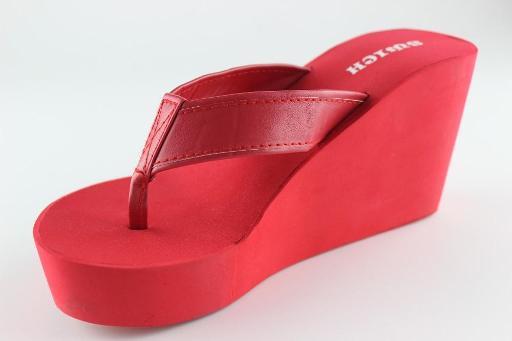 60848165bb4f Red Women Eva Girls High Heel Slippers Flip Flops With Pu Strap ...
