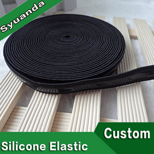 Black Polyester Custom Silicone Gripper Elastic Bands