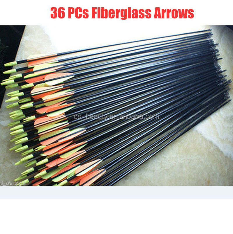 36pcs/Set Target Practice Steel Point Fiberglass Arrows 82cm 30-80ibs Archery Arrows for Hunting Compound Bow