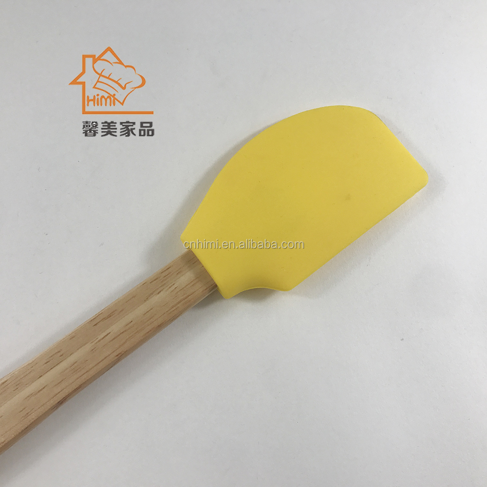 HIMI handy kitchen silicone butter spatulas turners with wood handle