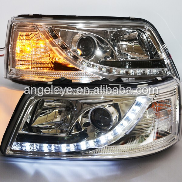 For VW T5 Caravelle Multivan LED Head light front light 2003-2010year with Projector Lens Chrome Color SN