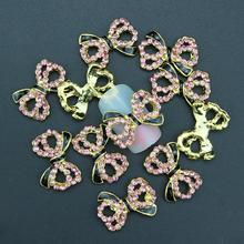 10Pcs Pack Glitter Black Gold Bow 3D Pink Rhinestones For Nail Art Decorations On Gel Polish