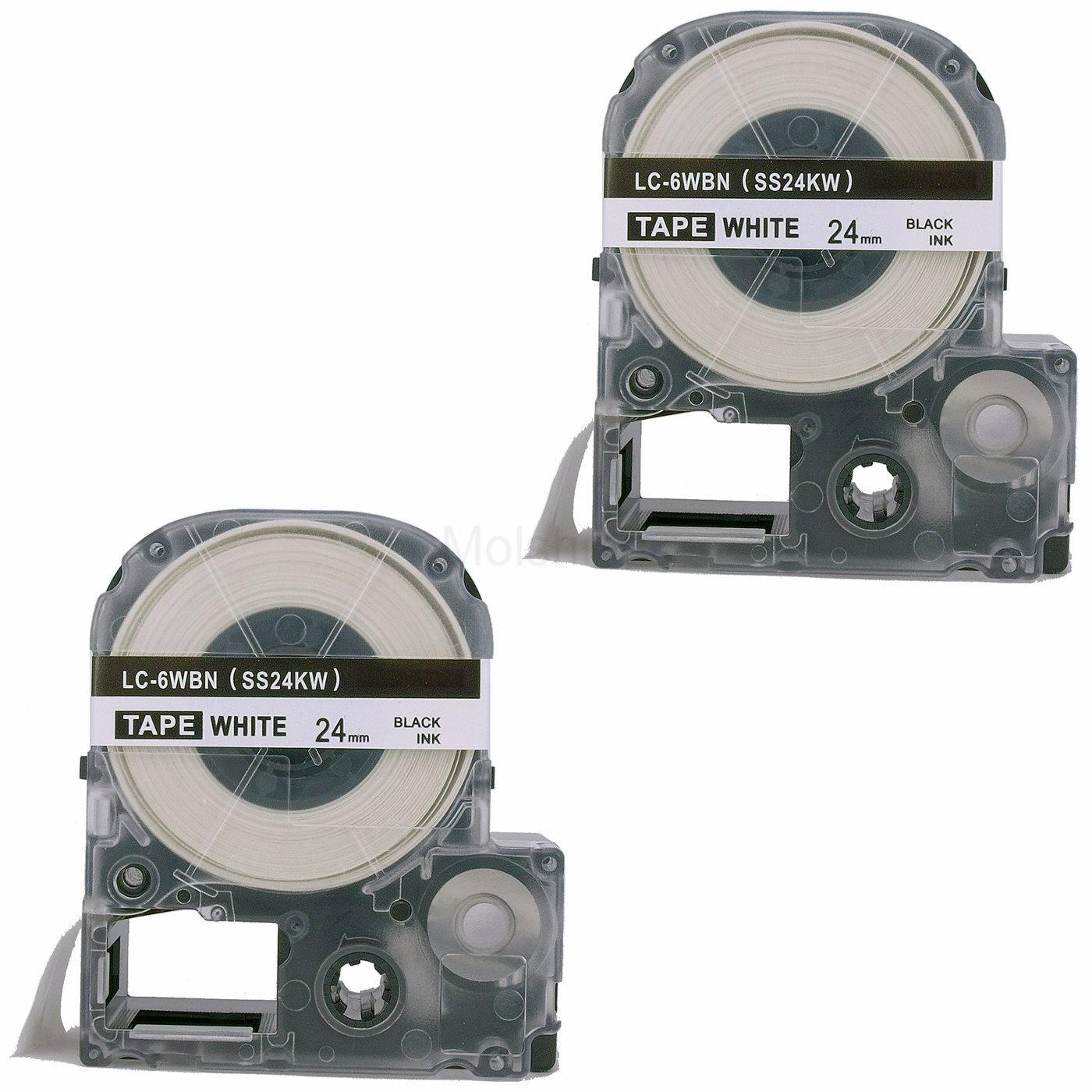 """Molshine 2 Pack LC-6WBN9 (SS24KW) Compatible Label Tape for EPSON Black on White (1/1"""" 24mm) 8m"""