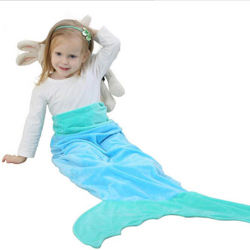 DM 657 Wholesale fleece hot selling cute kids new 2017 sleeping bag cotton large blue sack mermaid tail blanket