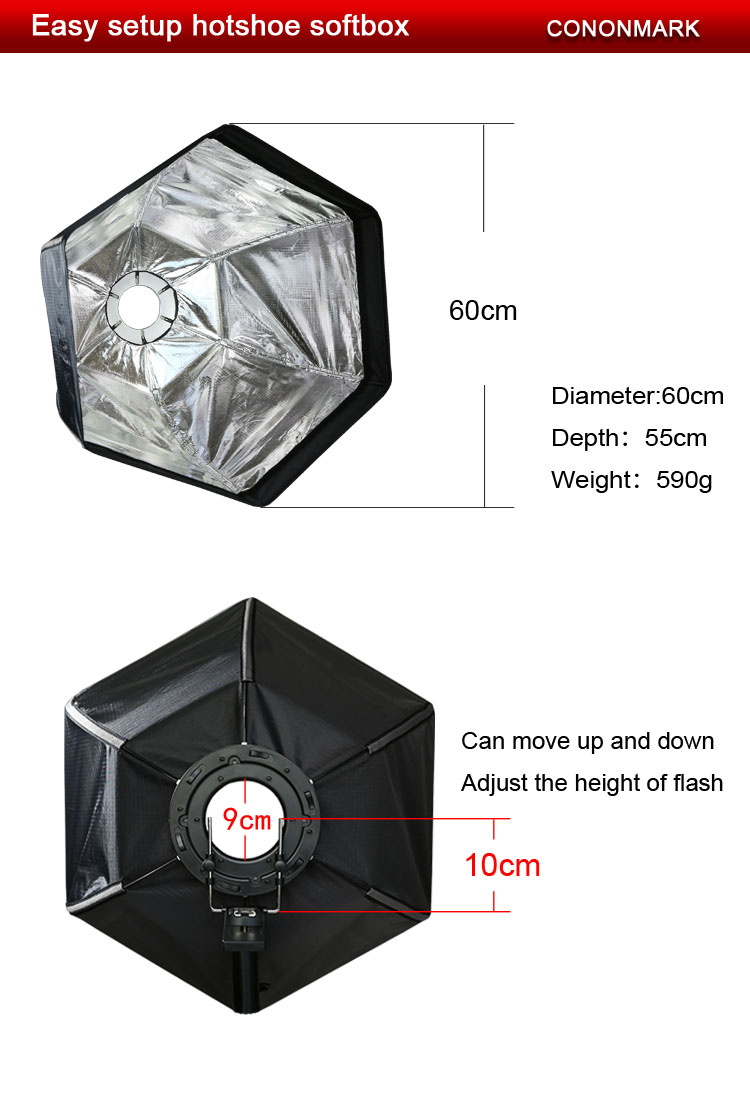 Cononmark 24 inches/60cm Professional Hexagonal Softbox Collapsible Diffuser with Handle Grip for Speedlight Studio Flash