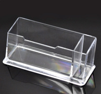 1PC Clear Plastic Business Card Holder Stand Display with Pen Stand