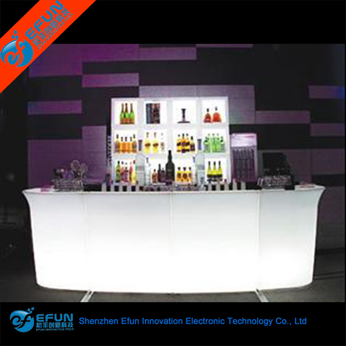 modern design rgb color bar counter table ,plastic portable led pub bar counter