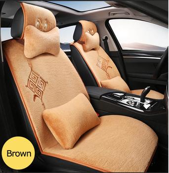 Universal Brown Warm Non Toxic Lambskin Fur Lace Car Seat Sofa Cover