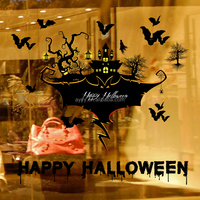 SK9226 Happy Halloween devil haunted house wall decal DIY kids room home decorate Wall Sticker