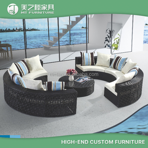 All weather outdoor wicker furniture resin 2pc black color half round patio sectional sofa set