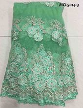 Green africa mesh tulle lace fabric graceful design good quality embroidery for dress heavy beaded 2018