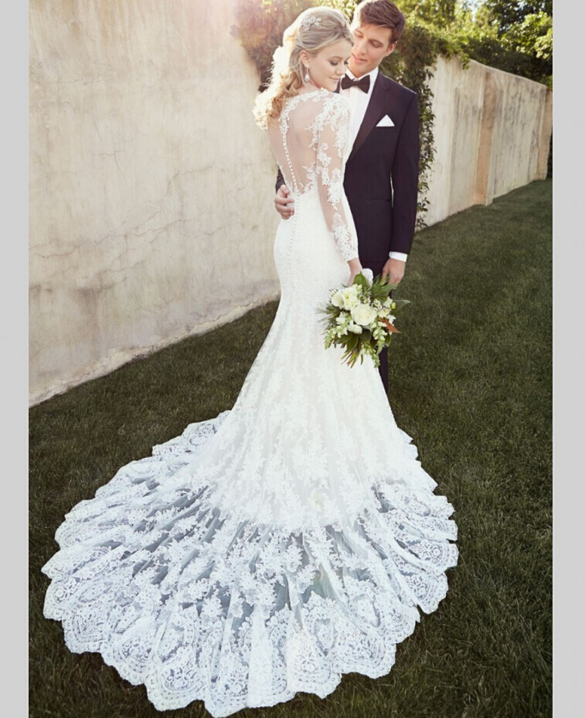 Mermaid Wedding Dresses With Sleeves: Aliexpress.com : Buy Full Long Lace Sleeves Cap Sleeve