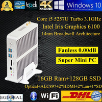 5th Gen CPU Broadwell Intel Core i5 5200U 5257u HD 6100 Fanless Barebone 16GB RAM 128GB SSD Mini PC Server Windows10 Dual Lan