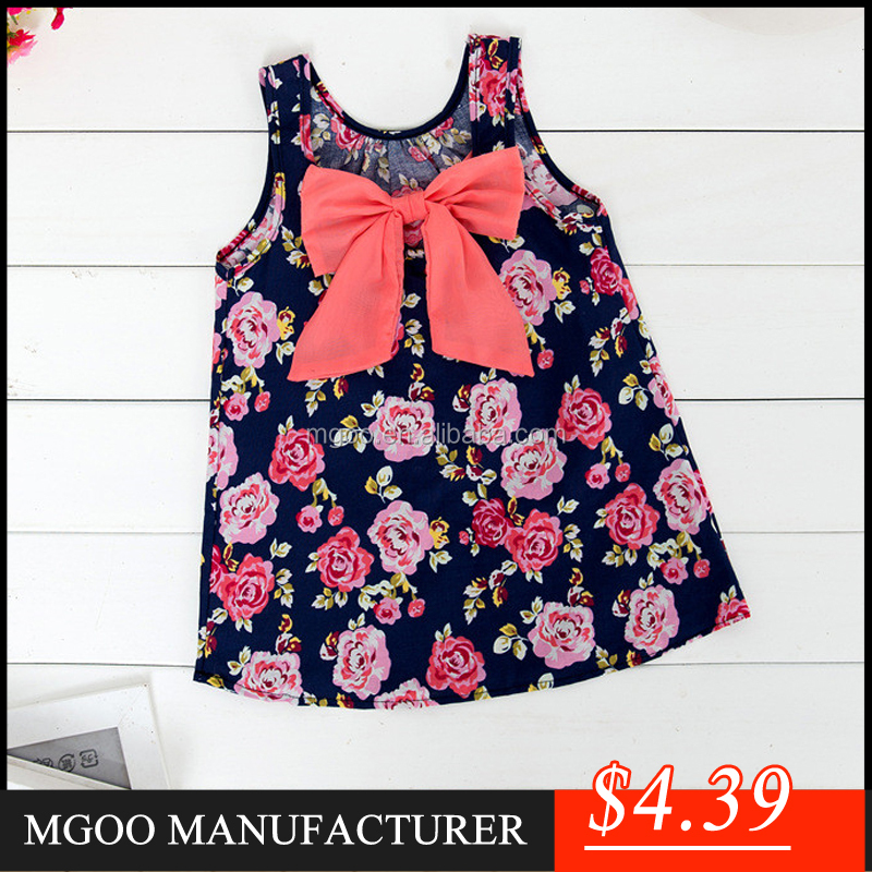 MGOO New Arrival Little Dress For Children Floral Print Cotton Sleeveless Straight Girl Dress 9085