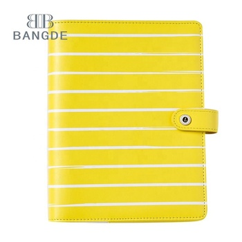 Custom personalized yellow PU leather hard agenda cover book organizer