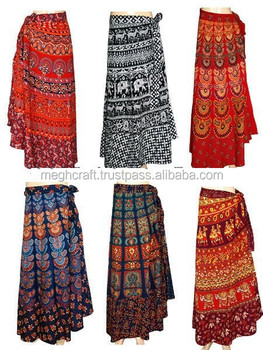 0041210bf4 Party wear Long Cotton wrap around skirts - Wholesale Cotton Printed Skirts  - Bollywood Style Skirt