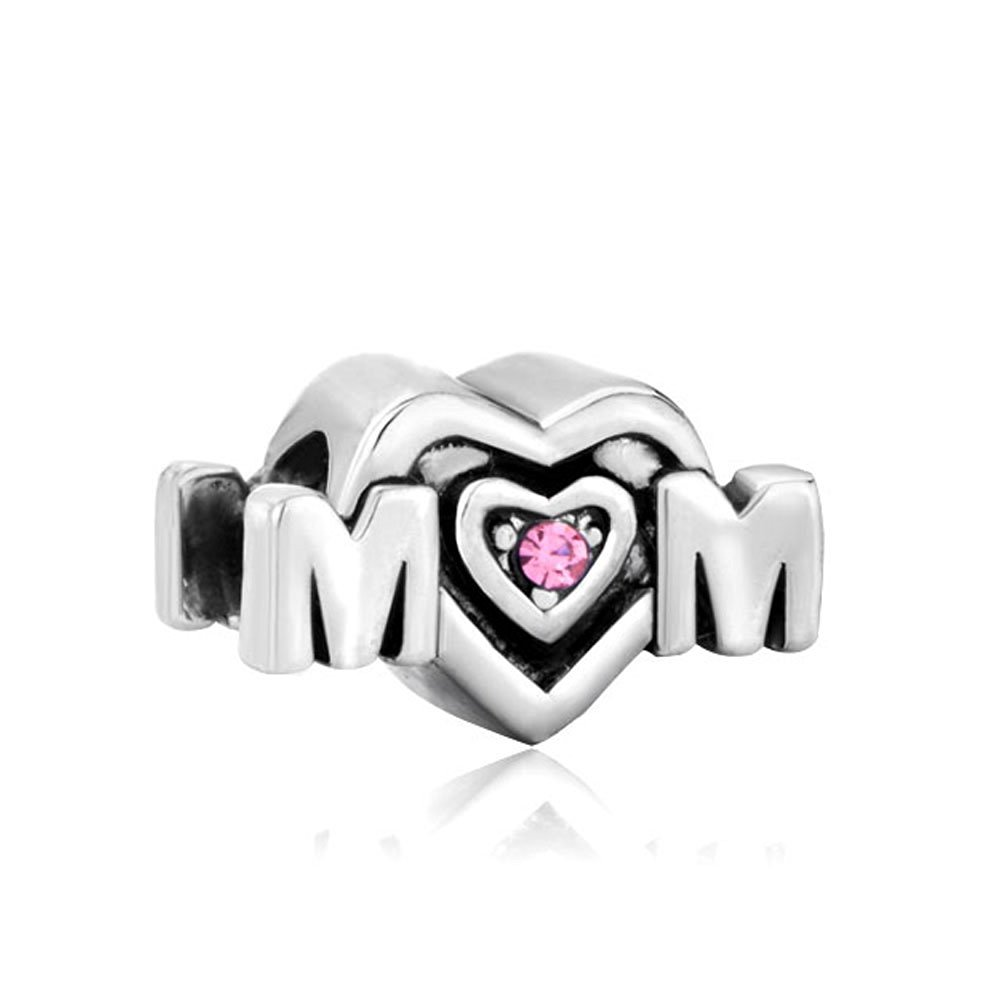 2af1b55a2 Get Quotations · Mom Mother Charm Pink Crystal Heart Love Silver Plated  Sale Cheap Jewelry Beads Fit Pandora Bracelets
