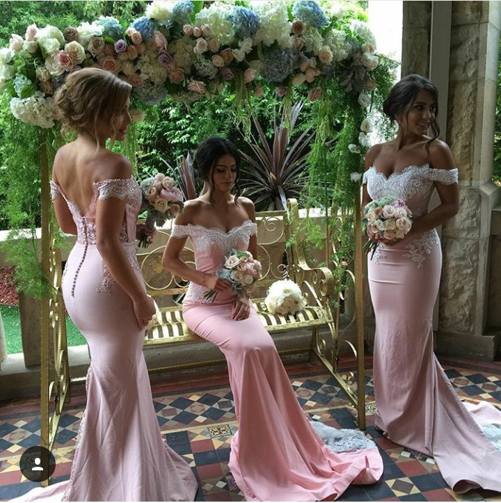 New Pink Lace Applique Sexy Mermaid Long Bridesmaid Dresses For Wedding Party Custom Made