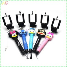 wireless bluetooth remote control self-timer foldable mini selfie stick with lovely cartoon design