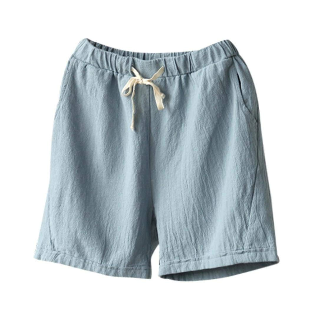 5365f5bb5d3 Get Quotations · Women Cotton Linen Summer Short Pants Elastic Waist Pocket  Casual Shorts Jersey Lounge Walking Shorts