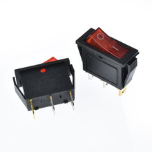 Power Switch 3pins/2 quosition with red LED Indicator light 32*14mm 6A/10A 250VAC on/off  Rocker switch KCD3