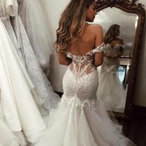 Off the Shoulder Bridal Gowns African Mermaid Wedding Dress 2019 Vestido de novia with Lace Long Tulle Bridal Dress with Train