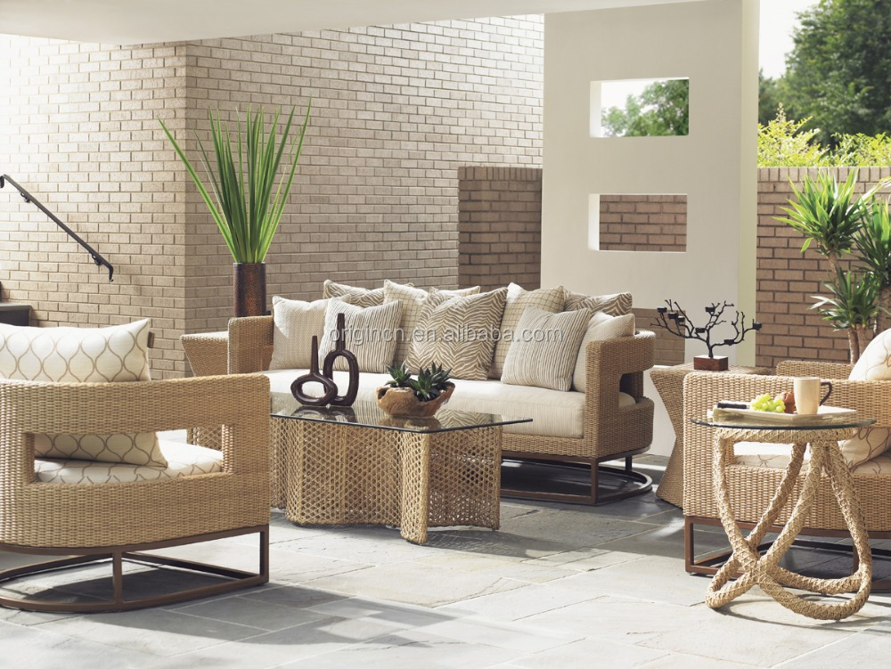 Designer Unique Style Synthetic Rattan Sofa Set With Scatterback Pillows Outdoor Furniture Philippines Manila