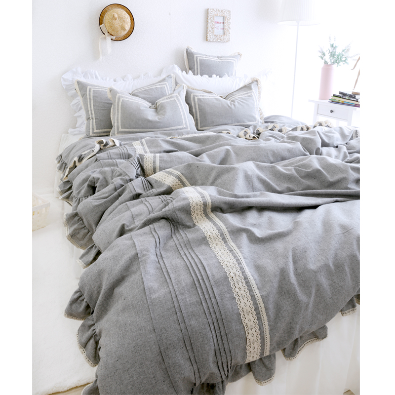 3794ed15f3 Muyeehome 100%Cotton Linen Home Textile Bedding Sets Grey Color Fashion  Princess Wind Duvet Cover Nature Linen Cloth Bed Spread-in Bedding Sets  from Home ...