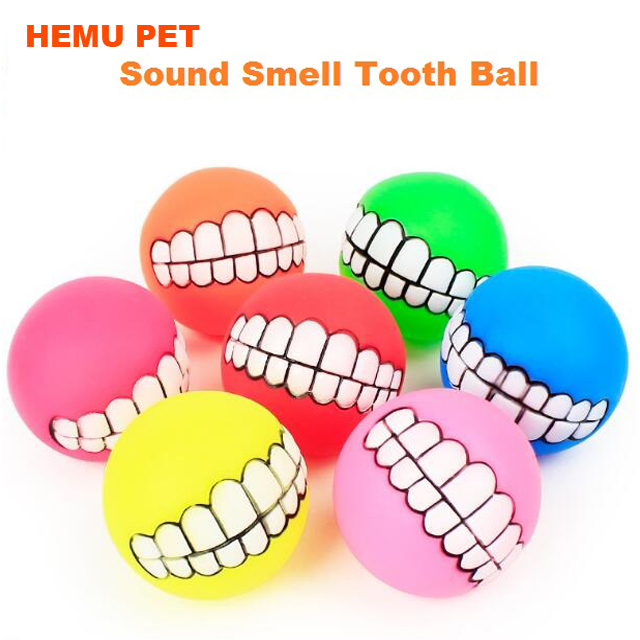 2017 hemu dog ball teeth silicon chew squeaker sound cat play toy pet