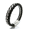 Fashion Mens Accessories Silver Polished Stainless steel Metal Leather Bracelets with Magnetic Clasp