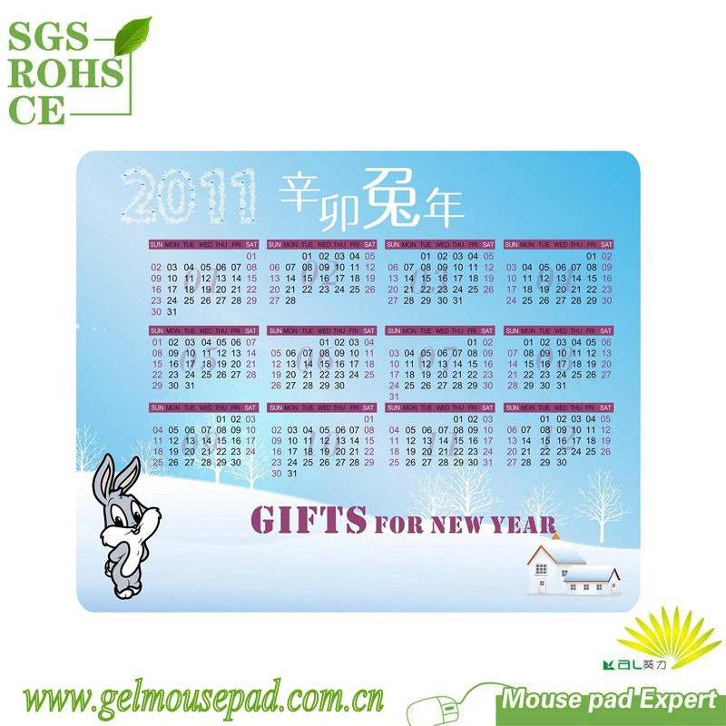 Calendar printed desk computer mouse pad mat passed SGS factory audit ROHS REACH