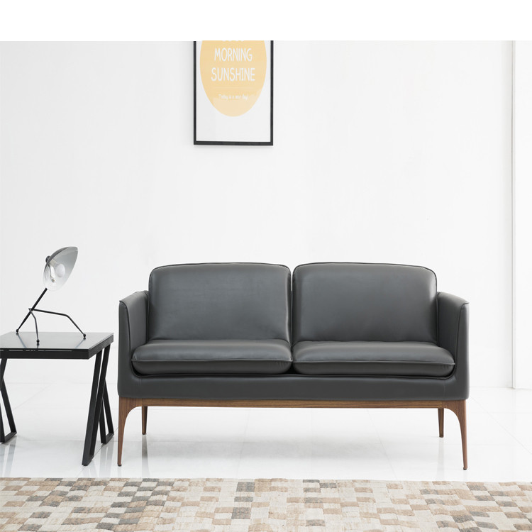 Small Design Wooden Legs Leather Sofa