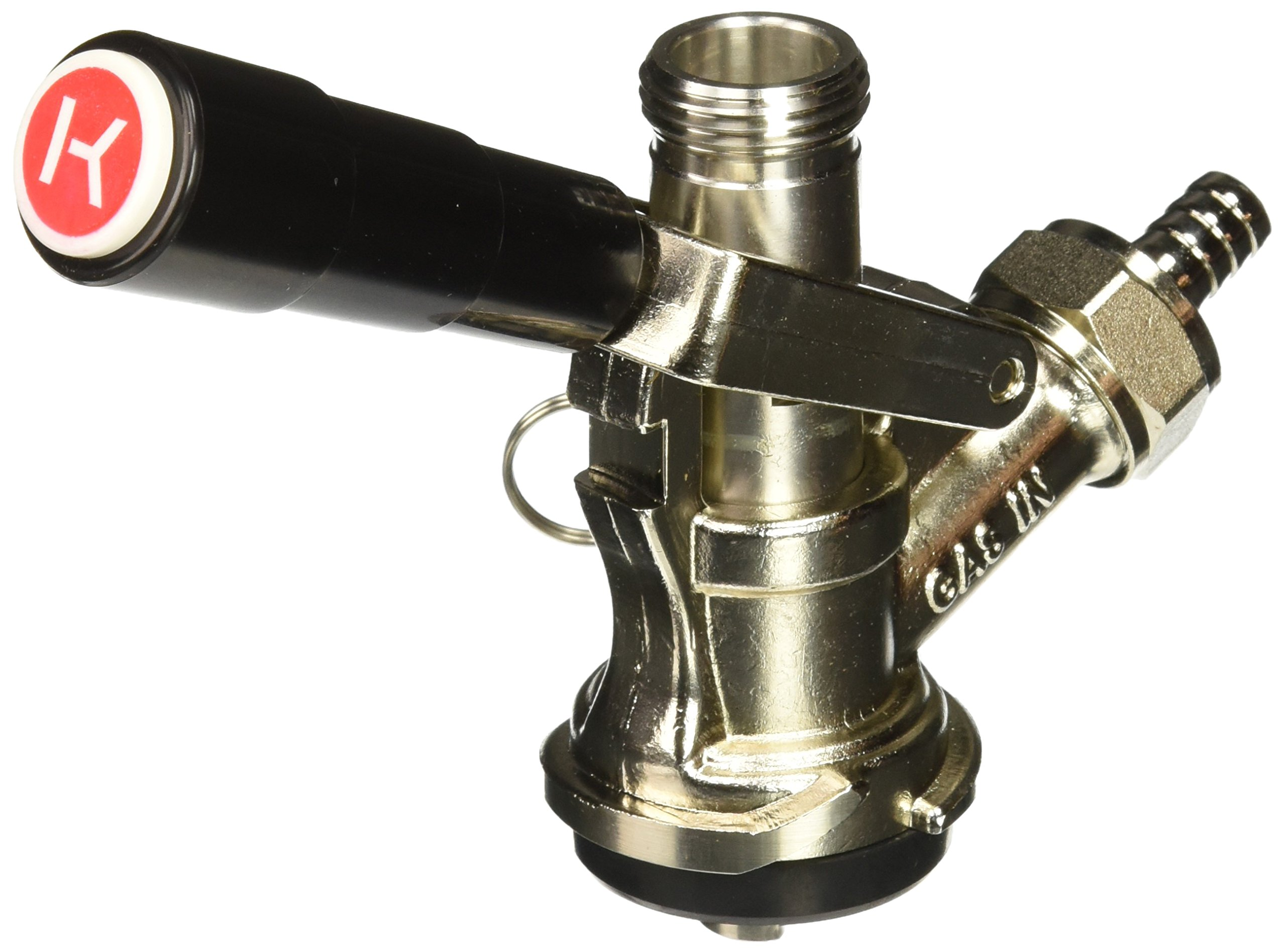 Kegco KC KT86S-L European Beer Keg Tap Coupler Kegerator S System with Lever Handle, Black