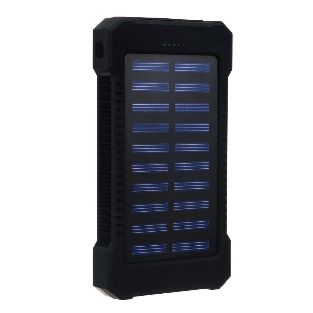 Creazy 30000mAh Dual USB Portable Solar Battery Charger Solar Power Bank (Black)