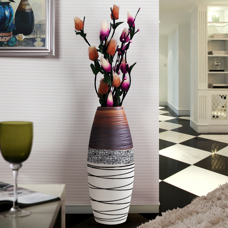 fashion ceramic large floor vase luckybamboo modern. Black Bedroom Furniture Sets. Home Design Ideas