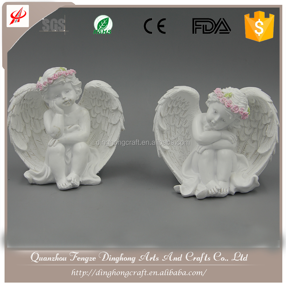 Estilo europa Resina Artesanato Antique White Angel Estátua de Buda Home Decor